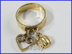 14K Gold James Avery HEART & PUMPKIN DANGLE CHARM Ring Size 3 1/2 Retired