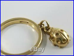 14K Gold James Avery LADYBUG DANGLE CHARM Ring Size 3 1/2 Retired