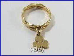 14K Gold James Avery SHAMROCK DANGLE CHARM Ring Size 3 1/2 Retired