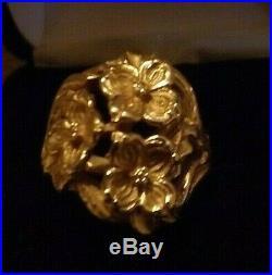 14K James Avery 3 Dogwood Flower Bouquet Ring sz 8 HEAVY 12 grams Retired Piece