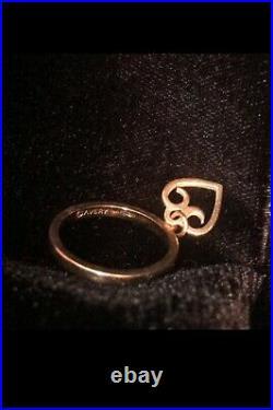14k James Avery Dangle Ring Heart Charm Retired Size 5.5