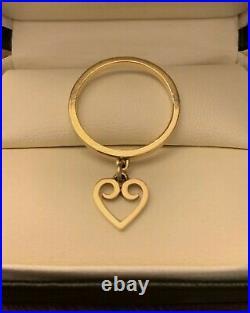 14k James Avery Dangle Ring Heart Charm Retired Size 8