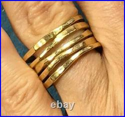 14k Yellow Gold JAMES AVERY STACKED Multi-Band Hammered Ring. 8.3g b450 10 20