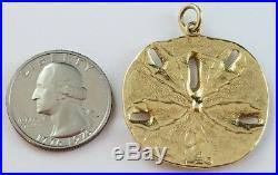 1.4 James Avery 14k Yellow Gold Sand Dollar Pendant Uncut Ring Box Bag & Insert