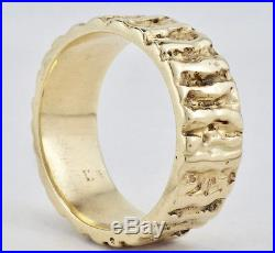 Estate James Avery 14K Yellow Gold Mens Textured Band Ring Size 9 1/2