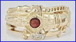 Estate James Avery Retired 14K Yellow Gold Garnet Cabochon Martin Luther Ring