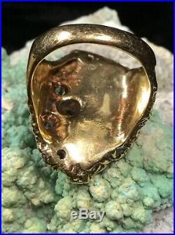 Finest! James Avery 14K Gold, Diamonds & Turquoise Retired Ring, 13.5g