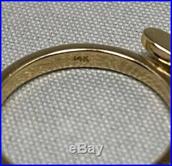 JAMES AVERY 14K GOLD HONEY BEE DANGLE RING WITH 2mm BAND SIZE 5 1/4 SIZABLE