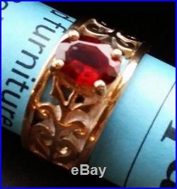 JAMES AVERY 14K Gold Adoree Garnet Ring Size 5.75 R6846 Scrolls