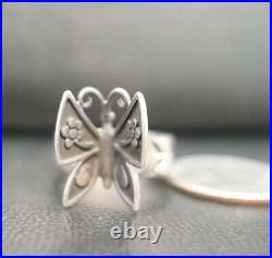 JAMES AVERY FLOWER / BUTTERFLY STERLING SILVER MARIPOSA RING Size 10