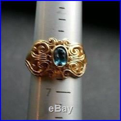 JAMES AVERY Retired 14K Gold Adorn Blue Topaz Ring Size 6.25 Hearts Scrolls