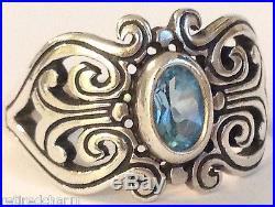 JAMES AVERY Retired SCROLLED HEARTS RING Blue Topaz Sterling Sz 5 JA Box