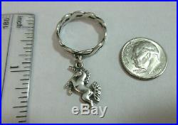 JAMES AVERY Retired Sterling Silver Ring Unicorn Horse Dangle Charm Size 7