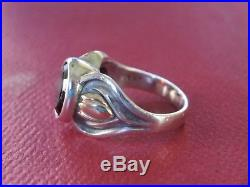 JAMES AVERY Tulip Flower Ring with Garnet 14K and Sterling Silver Size 6