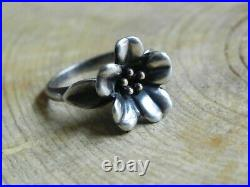 James AverySterling Silver & 14k FLOWER Ring size 8 Retired