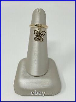 James Avery 14K Gold Butterfly Charm Dangle Band Ring