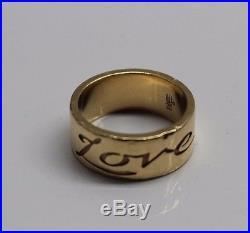 James Avery 14K Gold Retired Love Heart Band Ring Size 6 8.7G