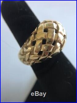 James Avery 14K Gold STUNNING, RETIRED & HEAVY Basket Weave RING