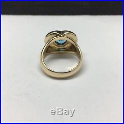 James Avery 14K Yellow Gold Blue Topaz Heart Ring Size 5