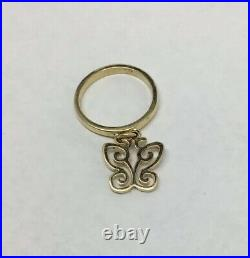 James Avery 14K Yellow Gold Charm Ring with Butterfly Size 4