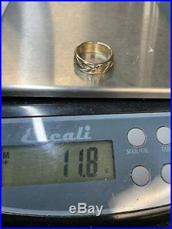 James Avery 14K Yellow Gold Eternity Leaf Band Ring 11.85g Size 8.75 Retired