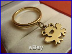 James Avery 14K Yellow Gold Frog Charm Dangle Ring 3.1 Grams Size 4 Lot 8372