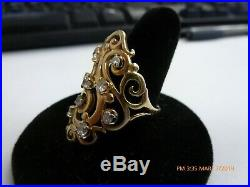 James Avery 14K Yellow Gold Open Sorrento Ring With 9 Diamonds Size 10