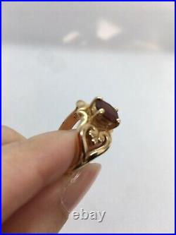 James Avery 14K Yellow Gold Scrolled Heart Ring with Garnet Size 6 Retired