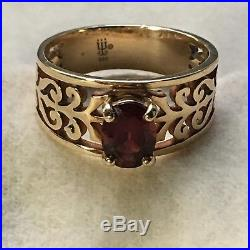 James Avery 14K gold Adoree Garnet ring, pre-owned in excellent condition