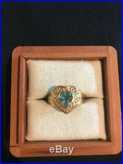 James Avery 14 K Heart Ring With Blue Topaz Heart Shape