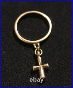 James Avery 14k Gold Saint Theresa 3D Dangle Ring Size 5.75 Retired