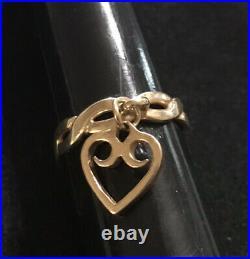James Avery 14k Gold Scroll Heart Twist Dangle Ring Size 4.5 Retired