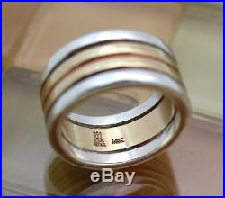 James Avery 14k Gold & Silver 4 Row Hammered Stacked Ring Size 8, 13.9G RETIRED