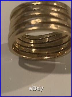 James Avery 14k Gold Stacked Hammered Ring Size 7.5