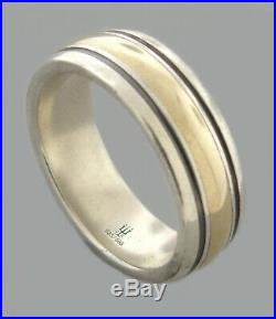 James Avery 14k Gold Sterling Silver Mens Wedding Band Ring Size 11