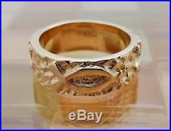 James Avery 14k Gold Textured Raised Ichthus & Chi Rho Ring Size 10, 12.5 Grams