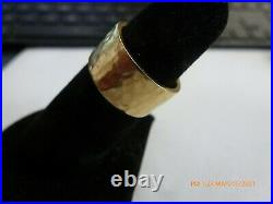 James Avery 14k Yellow Gold Hammered Ring Wide Wedding Band Size 6