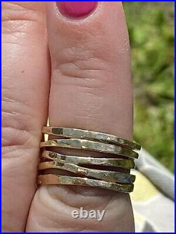 James Avery 14k Yellow Gold Hammered Stacked Ring Size 8