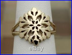 James Avery 14k Yellow Gold Snowflake Crystal Ring Size 8.5, 4.6G RETIRED