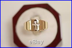 James Avery 14k Yellow Gold Wide Crosslet Ring Size 11, RETAIL $760