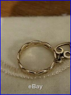 James Avery 14k Yellow gold Twisted Wire Heart Dangle Ring Size 6.5