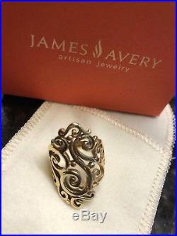 James Avery 14kt Yellow Gold Long Sorrento RingSize 7.5 with box and felt pocket