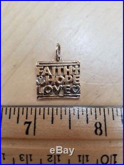 James Avery 14kt yellow gold, FAITH, HOPE, LOVE Charm, with jump ring. RETIRED