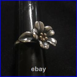 James Avery 18k Gold & Sterling Silver Large April Flower Ring Sz 7 Retired