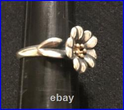 James Avery 18k Gold & Sterling Silver Small April Flower Ring Sz 6.75 Retired