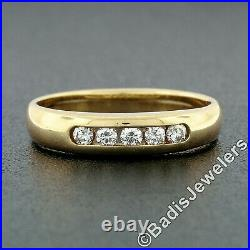 James Avery 18k Yellow Gold 0.15ctw Open Channel Round Diamond Wedding Band Ring