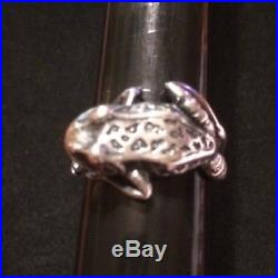 James Avery 3-D Frog Toad Wrap Ring Retired Size 8 Sterling Silver