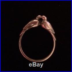 James Avery 3-D Lovebirds Birds Doves Ring Retired Sterling Silver Size 7