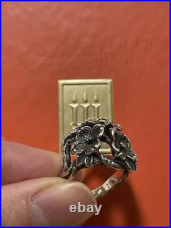 James Avery 3 Dogwood Flower Bouquet Cluster Ring Sterling Silver Retired Rare