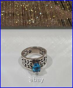 James Avery Adoree Ring Blue Topaz Sz 6 Sterling Silver